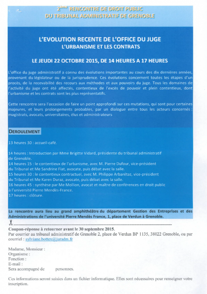 Rencontre de droit public - 22 Octobre 2015